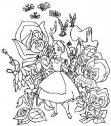 colora Alice tra i fiori.