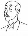 Alfred, maggiordomo di Batman. Disegno in bianco e nero