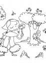 cappuccetto rosso raccoglie fiori per la nonna, colora