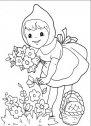 disegno di cappuccetto rosso che raccoglie i fiori