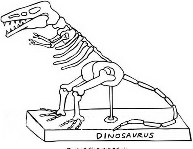 Dinosauri da colorare disegni gratis - Scheletro foglio da colorare ...