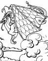 disegno in bianco e nero di drago in volo