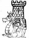 disegno di simpatici draghi a guardia di una torre