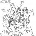 Il gruppo di amici della high school musical da colorare