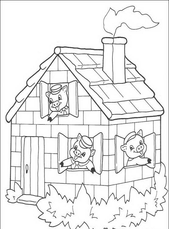 I tre porcellini da colorare disegni gratis for Disegno della casa