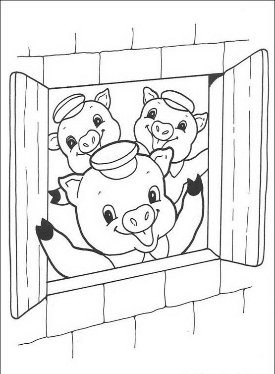 I tre porcellini da colorare disegni gratis - Finestra da colorare ...