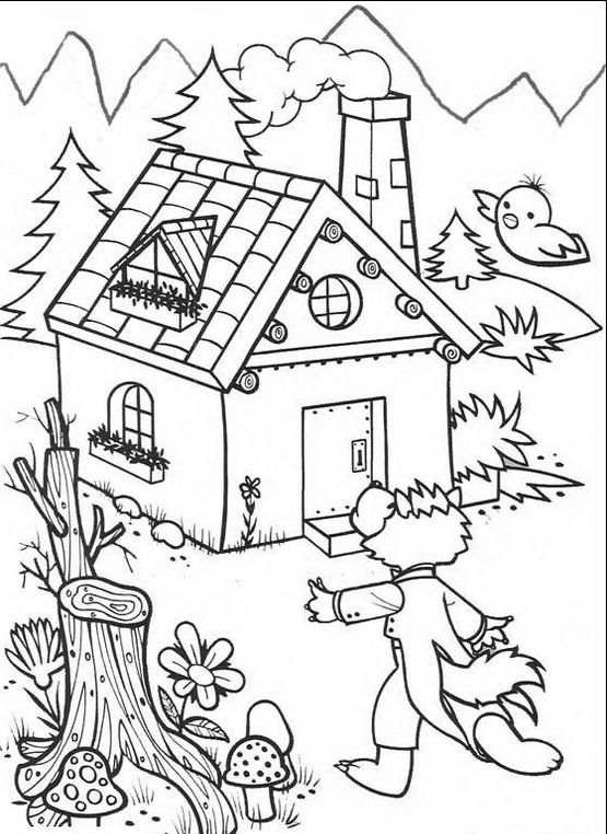 I tre porcellini da colorare disegni gratis - Casetta di cartone da colorare ...