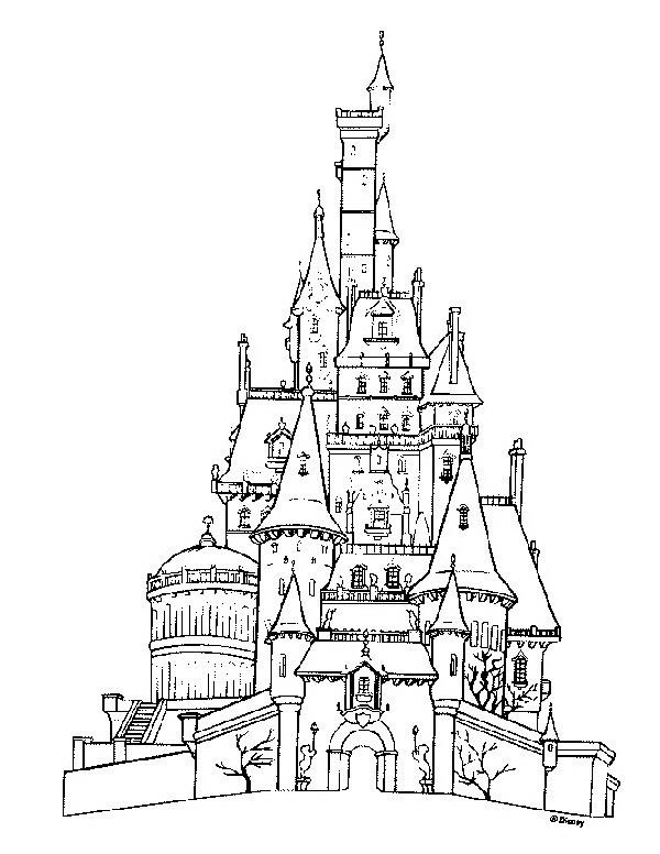 La bella e la bestia da colorare disegni gratis for Disegni casa castello