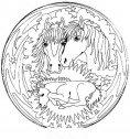 immagine di mandala con cavalli e puledro