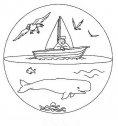 mandala con barca e balena da colorare