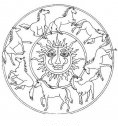 disegno mandala con sole e cavalli