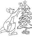 Disegno del canguro con l'albero di Natale.