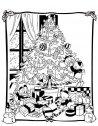 Colora i nipotini con il grande albero di Natale.
