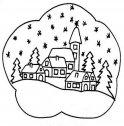 Paesaggio di Natale mentre fiocca.