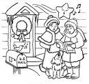 paesaggio da colorare con bambini che leggono la letterina di Natale.