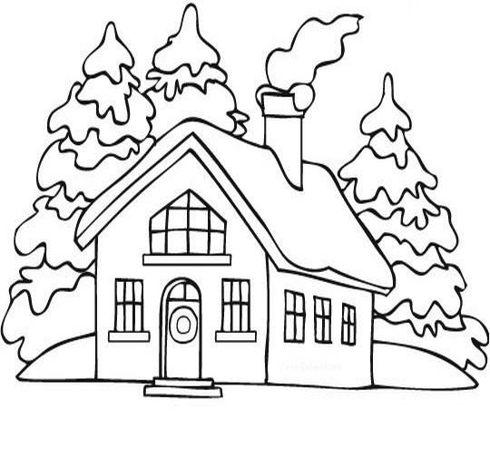 Paesaggi di natale da colorare disegni gratis - Disegni di casa da colorare per bambini ...