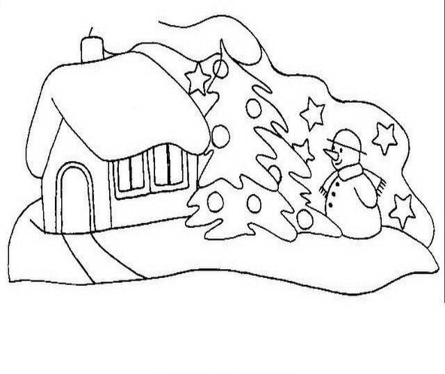Paesaggi di natale da colorare disegni gratis for Disegni paesaggio invernale