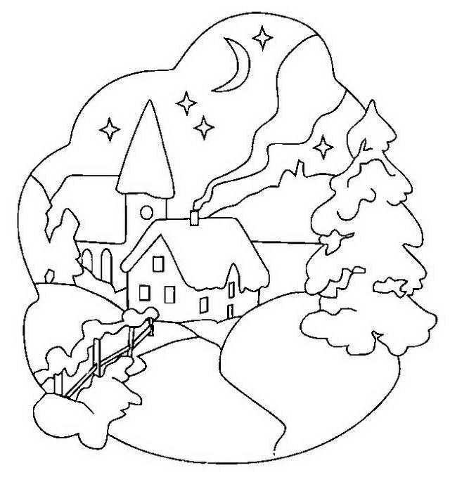 Paesaggi di natale da colorare disegni gratis - Coloriage village de noel ...