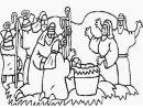 Disegno della Sacra Famiglia con i pastori.