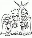 Disegno dei Magi guidati dalla stella cometa.