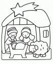 Colora la capanna con le pecorelle.