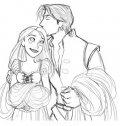 Rapunzel e Flynn, colora.