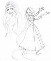 Colora Rapunzel con i lunghi capelli.