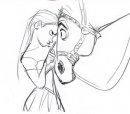 Rapunzel con Max il cavallo bianco.