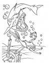 la sirenetta sfugge allo squalo, stampa e colora