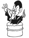 Il vampiro esce dalla torta.