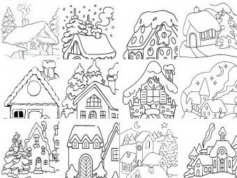 Paesaggi di Natale da colorare disegni